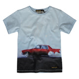 DALTON Pale Blue Red Burn - Boy Knitted Jersey Short Sleeve T-Shirt