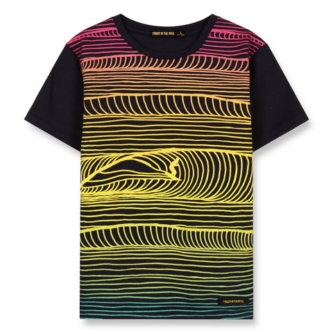 DALTON Super Navy Surf Lines - Short Sleeves T-Shirt 1