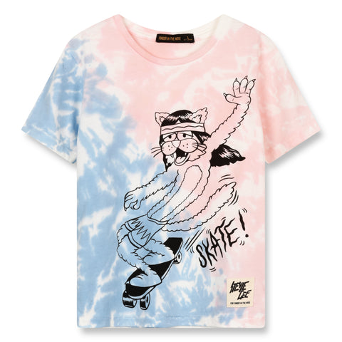 DALTON Wave Blue/Pink Skate Cat - Short Sleeves T-Shirt 1