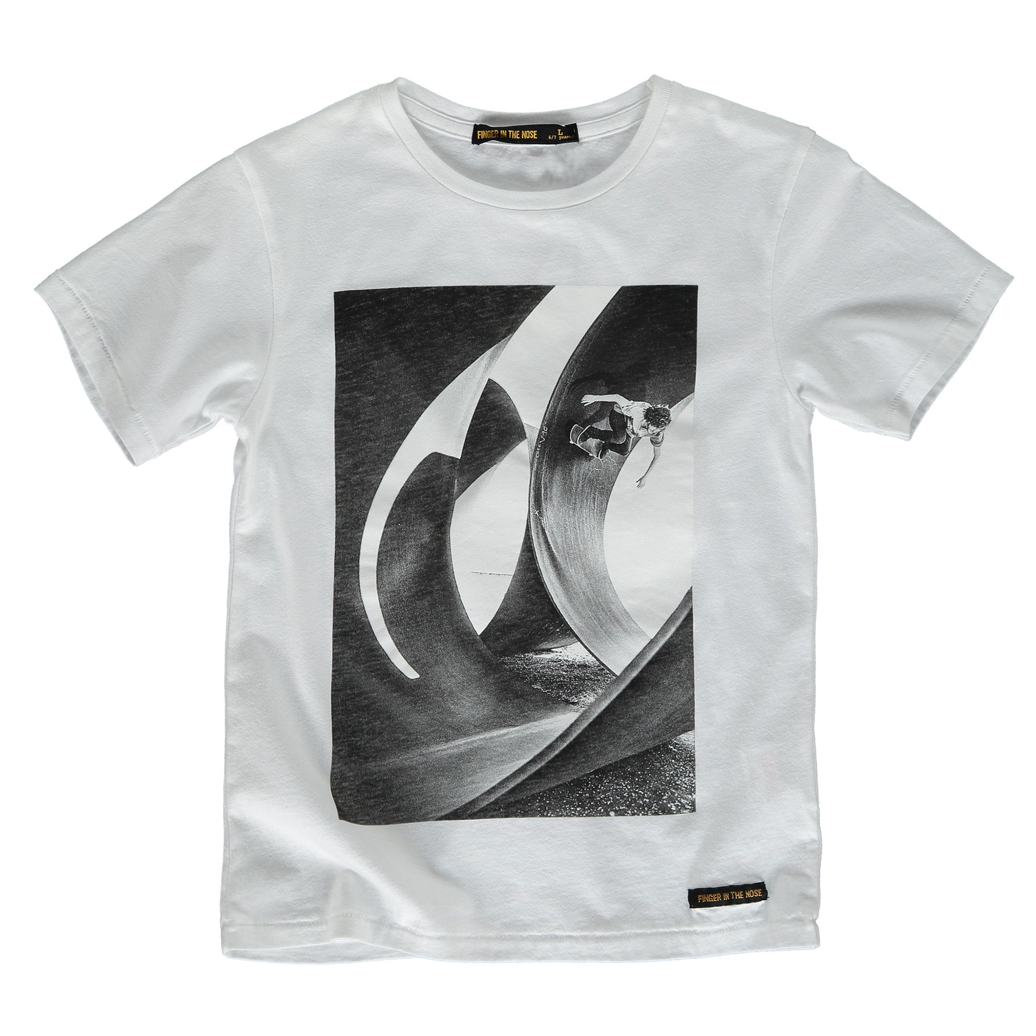 DALTON White Skatepipe - Boy Knitted Jersey Short Sleeve T-Shirt