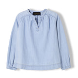DILLON Bleached Blue - Girl Woven Oversized Long Sleeve Shirt 1