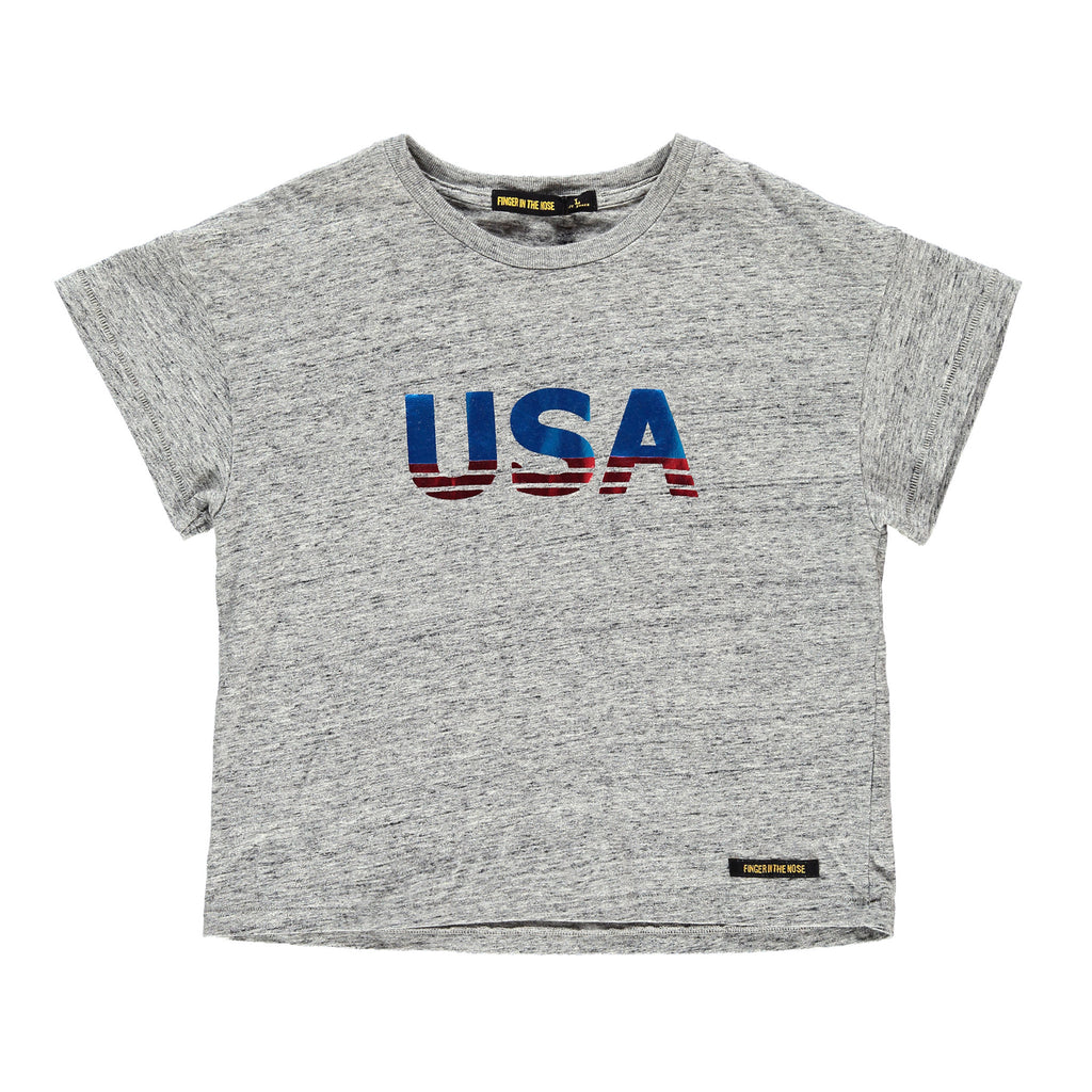 DROP Heather Grey USA - Girl Jersey Short Sleeves T-Shirt