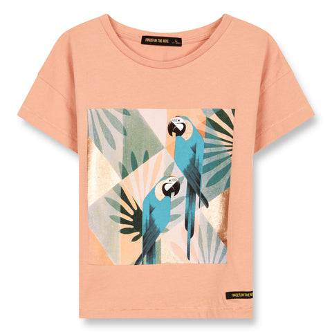 DROP Powder Pink Parrots - Jersey Short Sleeve Cropped T-Shirt 1