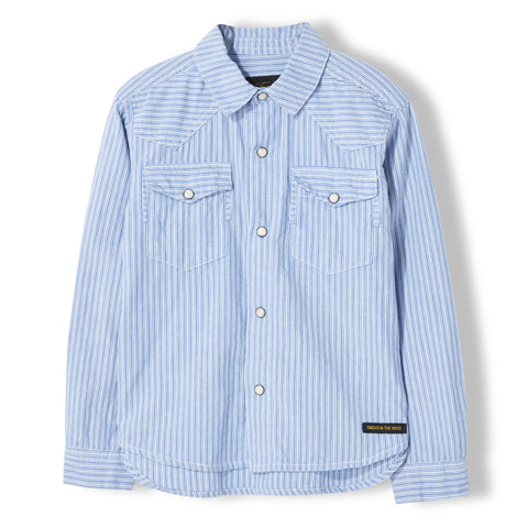 DUSK Blue Stripes - Unisex Woven Long Sleeve Shirt 1