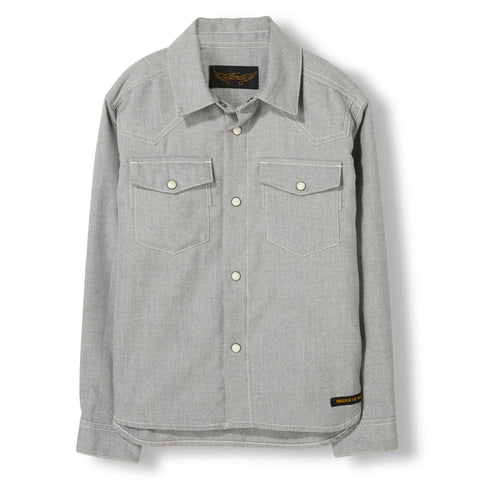 DUSK Heather Grey -  Woven Long Sleeve Shirt 1