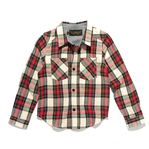 DAVE Cream/Red Checker - Woven Long Sleeve Shirt