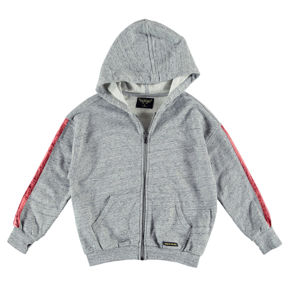 ESCAPE Heather Grey Red Foil - Girl Oversized Zipped Hoody