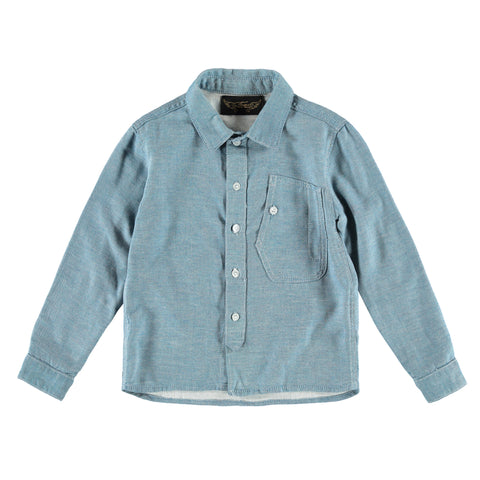 EXPERT Light Blue Denim - Boy Long Sleeves Shirt
