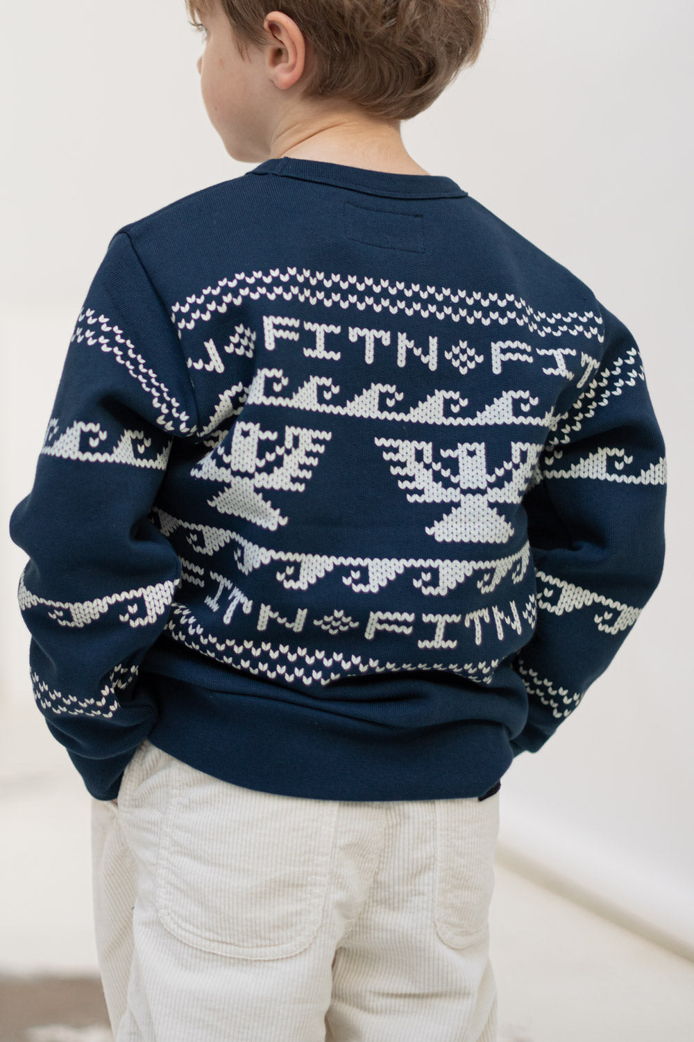 BRIAN Navy Cowichan - Crew Neck Sweater