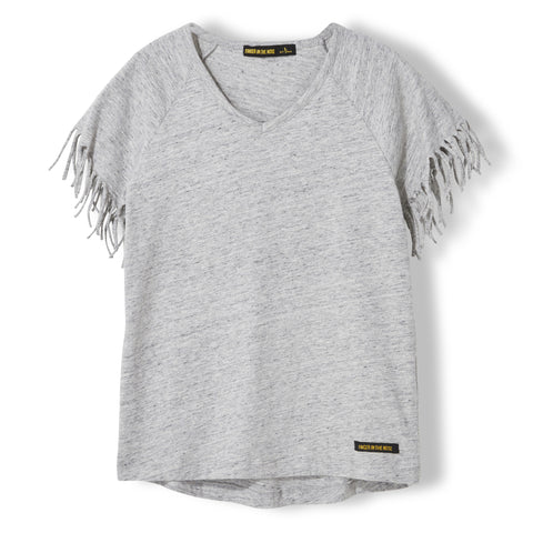 GORGEOUS Heather Cloud - Girl Knitted Fringed Sleeve T-Shirt 1