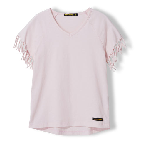 GORGEOUS Vegas Pink - Girl Knitted Fringed Sleeve T-Shirt 1