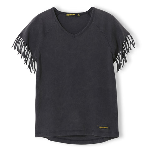 GORGEOUS Vintage Black - Girl Knitted Fringed Sleeve T-Shirt 1