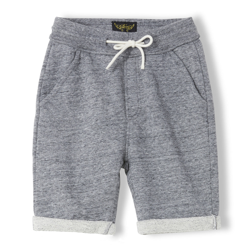 GROUNDED Heather Charcoal - Boy Knitted Fleece Comfort Fit Bermudas 1