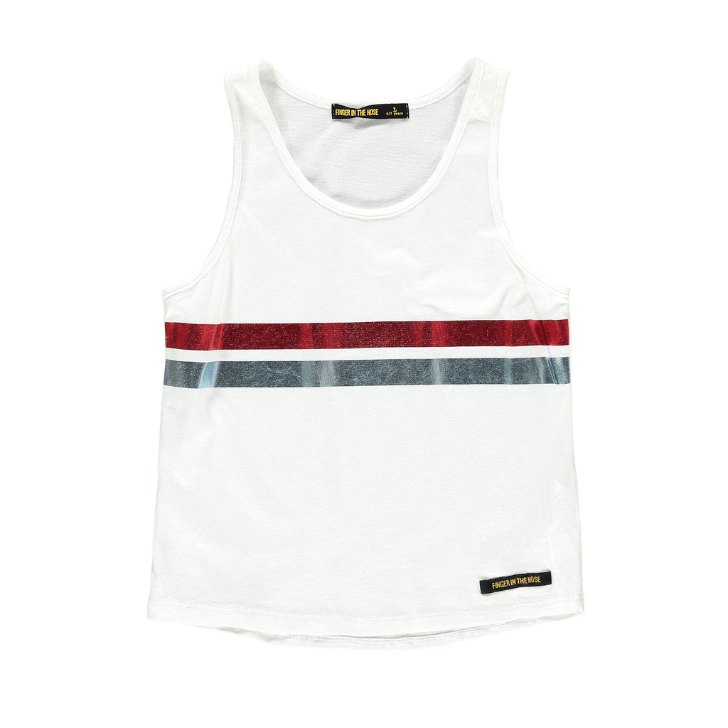 GUILIA White Foil Stripes - Girl Jersey Tank Top