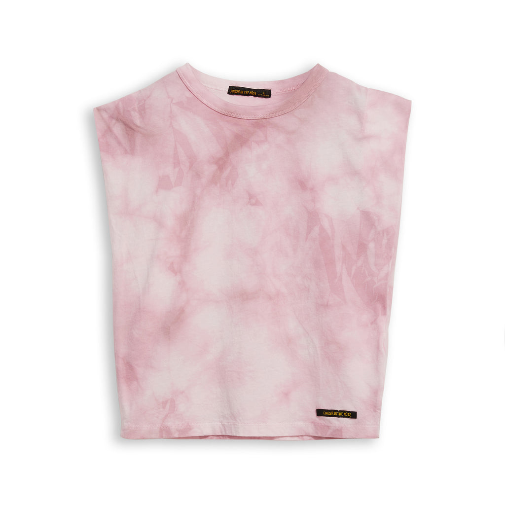 HALEY Pale Pink Tie & Dye - Sleeveless Tee-Shirt