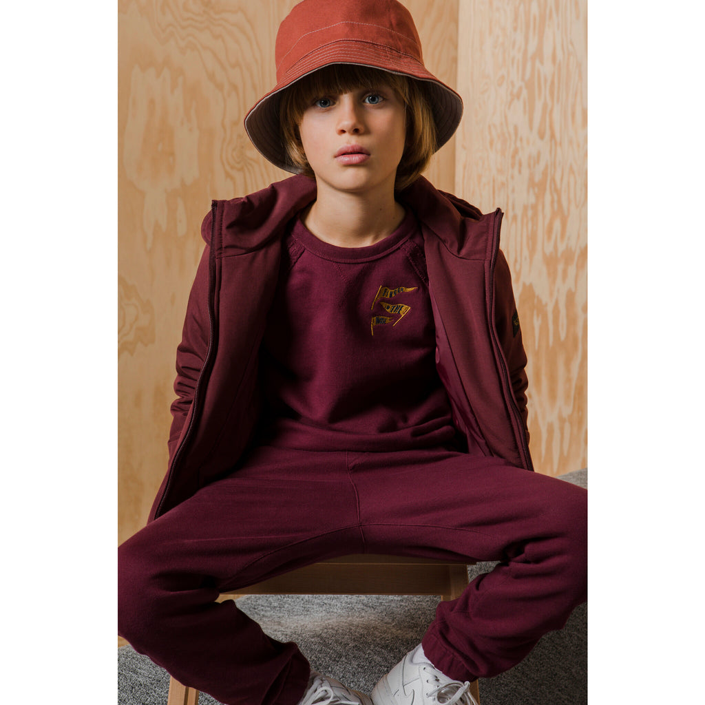 HANK Burgundy Flags - Raglan Sleeves Sweatshirt
