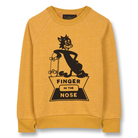 HANK Heather Mustard Skate Cat - Raglan Sleeves Sweatshirt 1