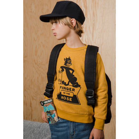 HANK Heather Mustard Skate Cat - Raglan Sleeves Sweatshirt