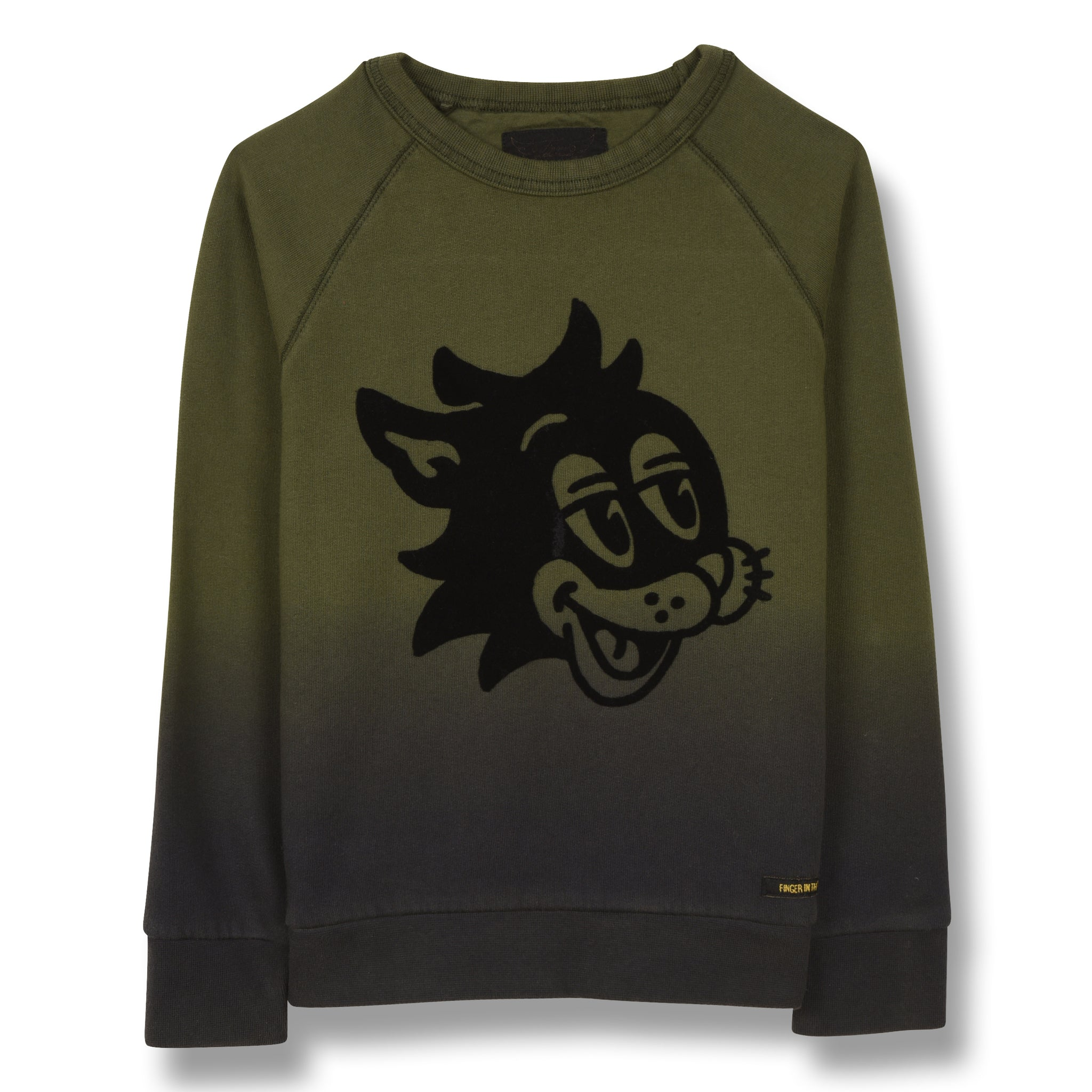 HANK Khaki Cat Smile - Raglan Sleeves Sweatshirt 1