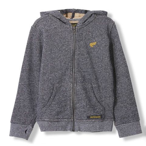 HAYDEN Heather Coal -  Knitted Zipped Hoody 1