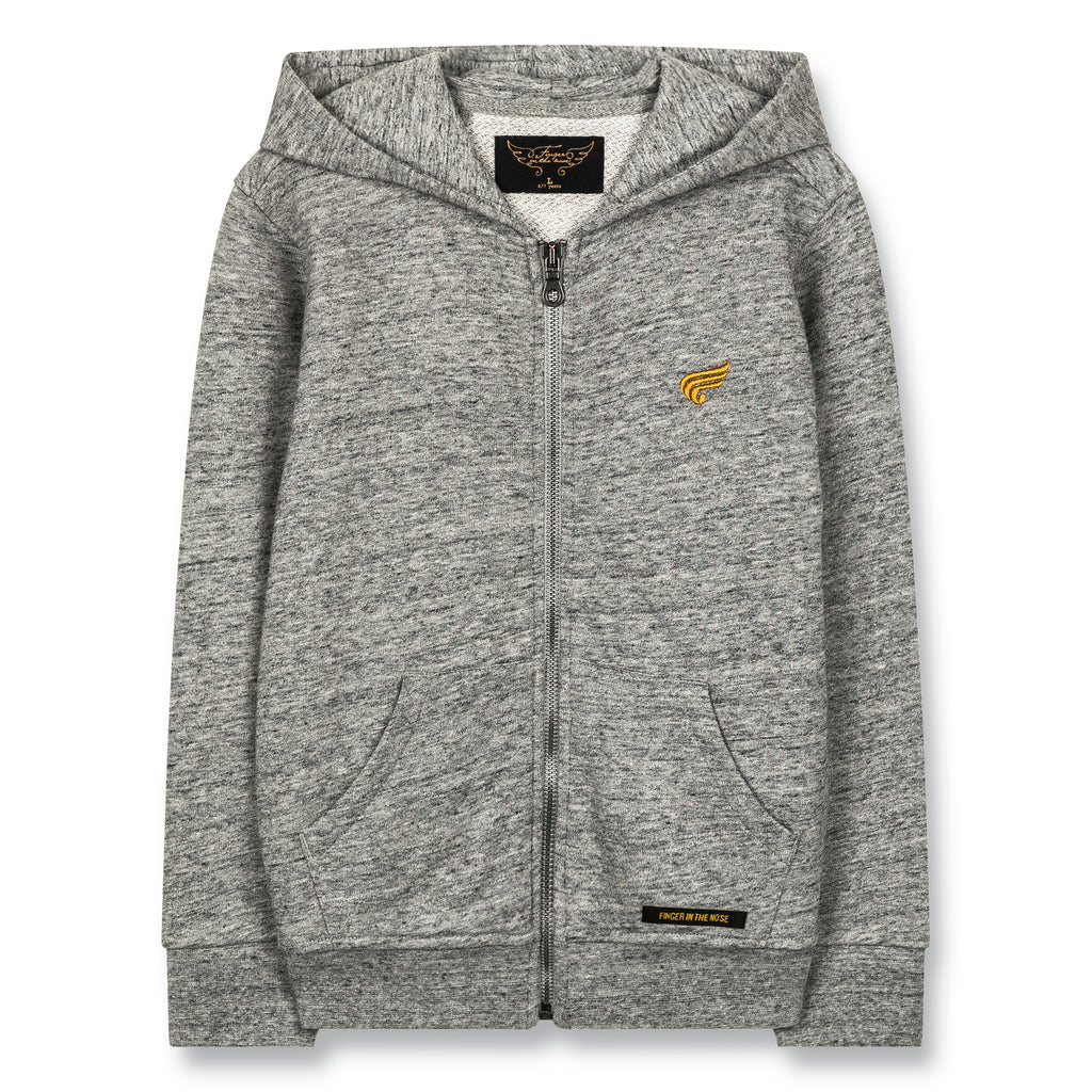 HAYDEN Heather Grey - Zipped Hoody 1