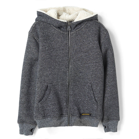 HOOPER Heather Coal - Knitted Zipped Hoody