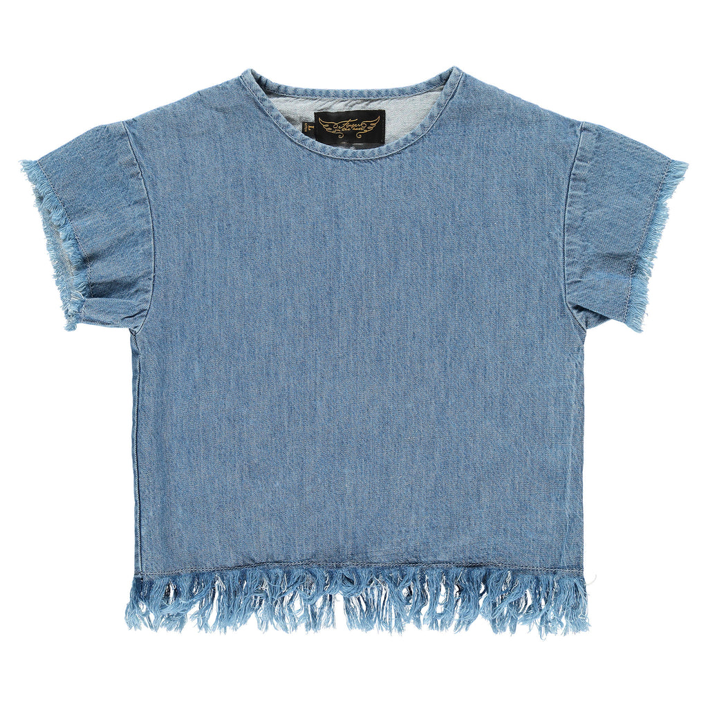 INGA Blue Denim - Girl Short Sleeves Top