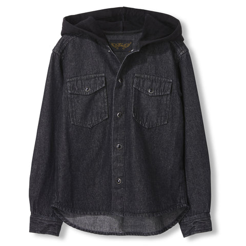 JARED Grey Denim -  Woven Long Sleeve Hooded Shirt 1