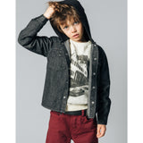 JARED Grey Denim -  Woven Long Sleeve Hooded Shirt 2
