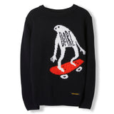 KRIS Black Ghost Skate -  Heavy Knitted Round Neck Jumper 1