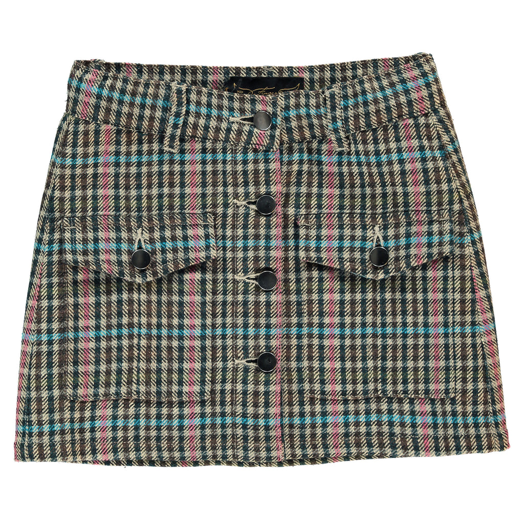 LEELEE Multicolor Checks - Buttoned Skirt