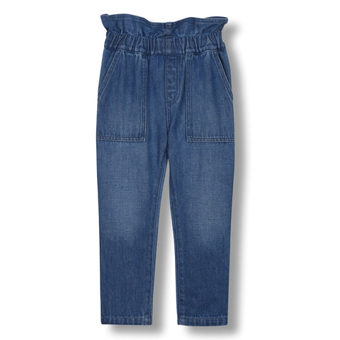 LIZZY Medium Blue - Elasticated Paper Bag Pant 1