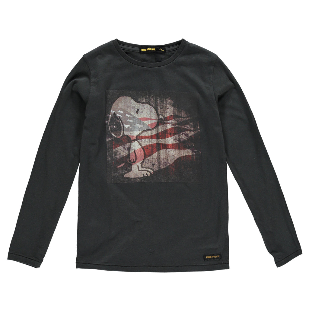 LONGJOHN Ash Black US Flag - Boys T-Shirt