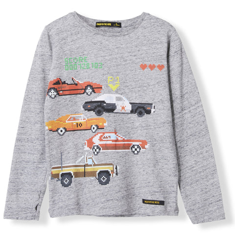 LONGJOHN Heather Grey TV Cars -  Knitted Long Sleeve Jersey T-shirt 1