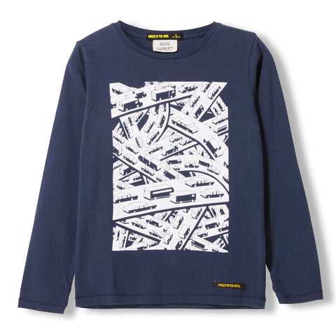 LONGJOHN Night Blue Crossroads -  Knitted Long Sleeve Jersey T-shirt 1