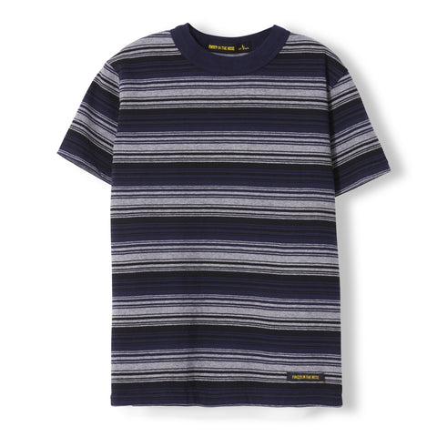 MADDOX Blue Pop Stripes - Unisex Knitted Short Sleeve Ringer T-Shirt
