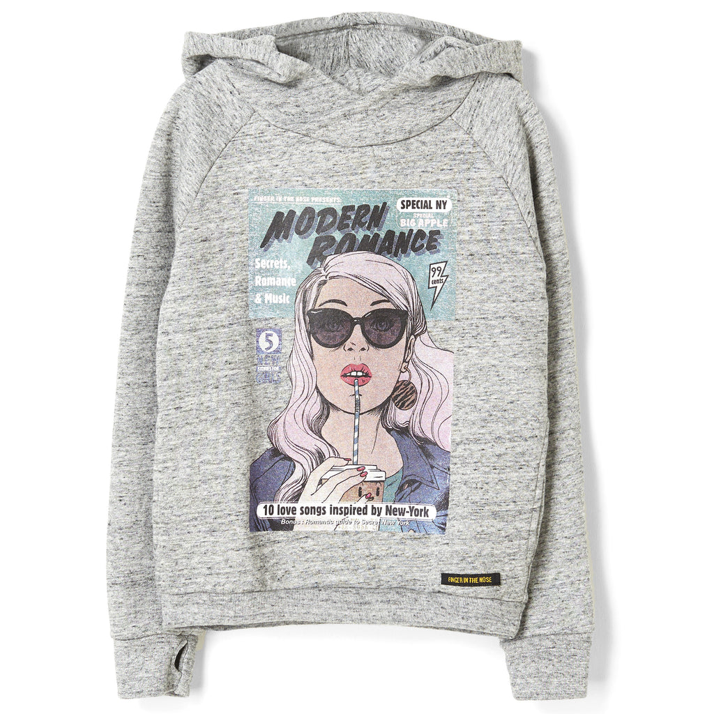 MARLA Heather Grey Comic Strip - Hooded Sweatshirt