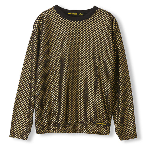 MIKKI Gold Metal Checkers -  Knitted Long Sleeve Jersey T-shirt  1