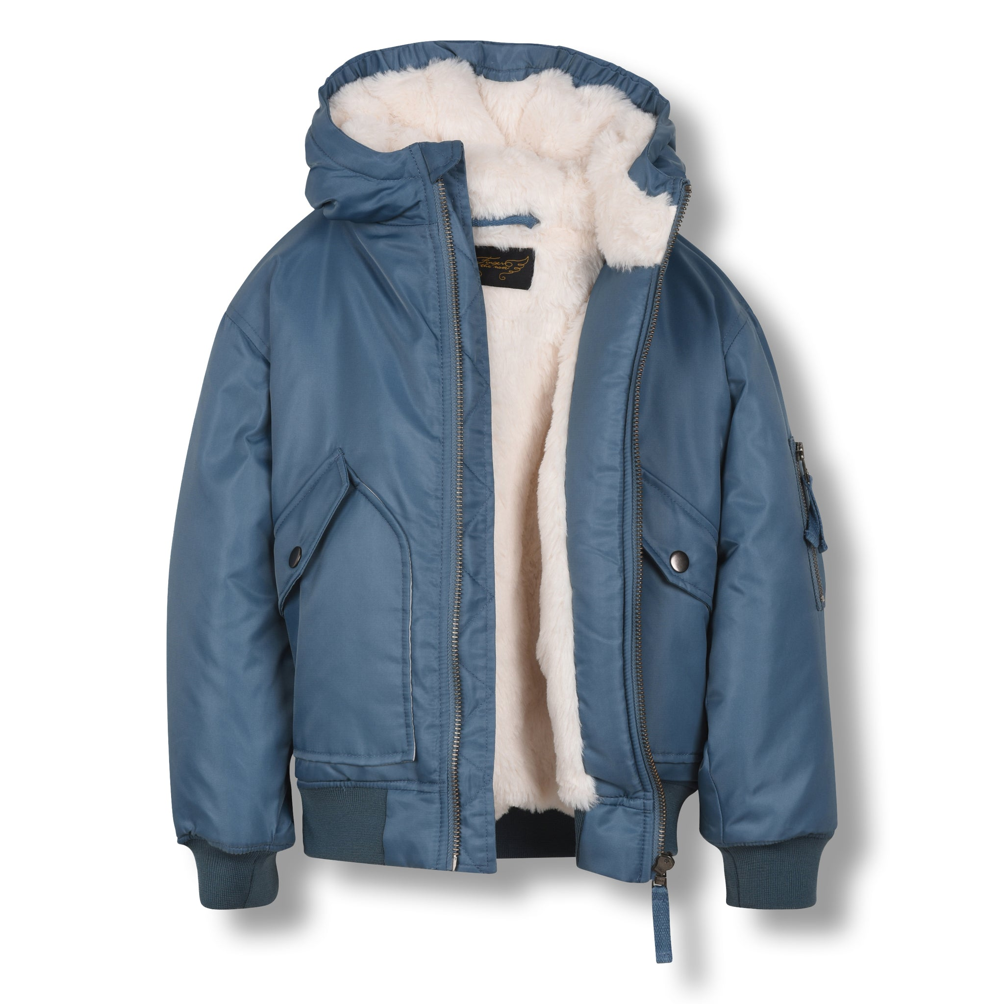 NEW BALTIMORE Stone Blue-Zipped Hooded Jacket 2