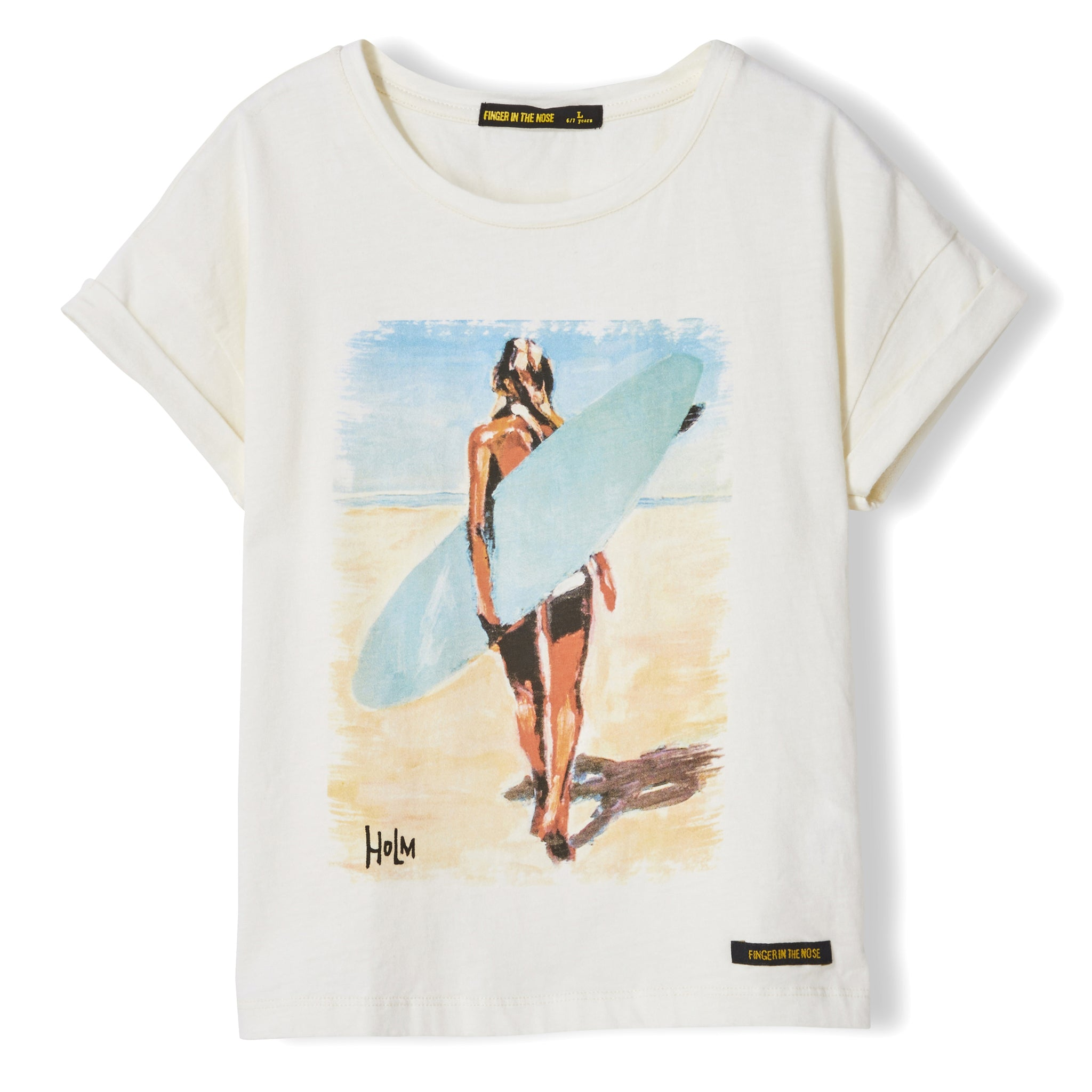NEW BRITNEY Ecru Surf Girl - Girl Knitted Short Sleeve T-Shirt 1