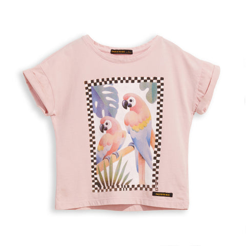 NEW BRITNEY Pale Pink Parrots - Short Sleeves Tee-Shirt 1