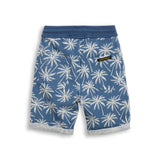 NEW GROUNDED Stone Blue Palms -  Comfort Fit Fleece Bermudas 2