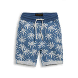 NEW GROUNDED Stone Blue Palms -  Comfort Fit Fleece Bermuda