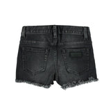 NOVA Dark Grey Denim Fringes -  5 Pocket Mini Short