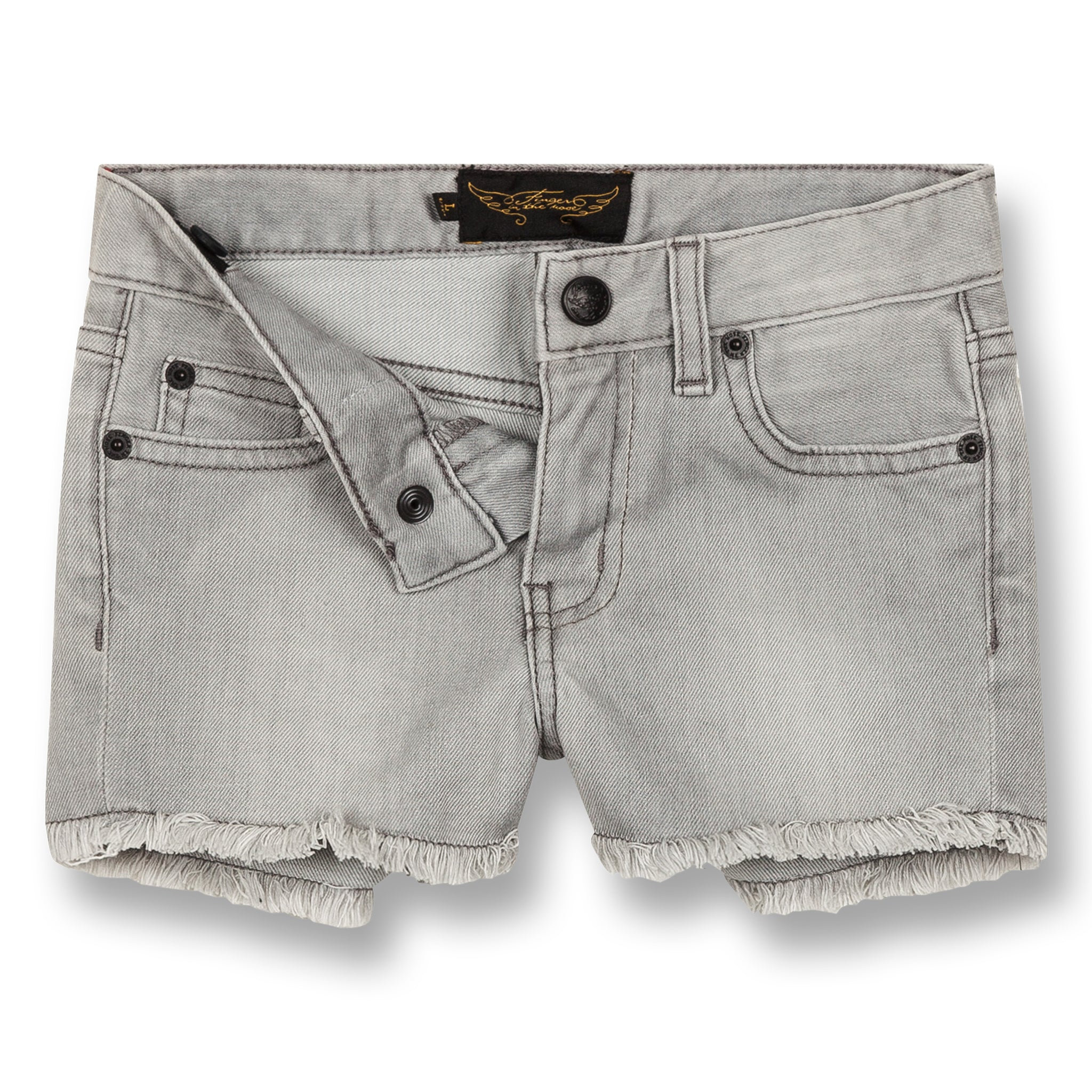 NOVA Bleached Grey Fringes - 5 Pocket Mini Shorts 2