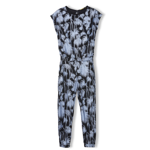 PARADISE Black Palm Trees - Girl Knitted Jersey Jumpsuit 1