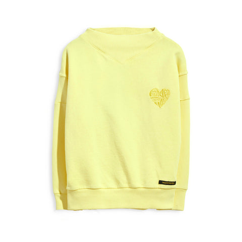 PEYTON Pale Yellow Finger Heart - Oversized Sweatshirt 1