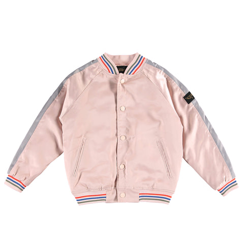 PRETENDER Chalk Pink Cactus - Girl Embroidered Varsity Jacket
