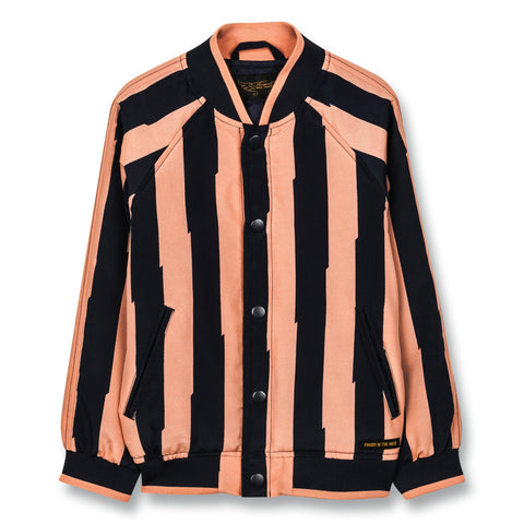 PRETENDER Powder Pink Flash Stripes - Varsity Jacket 1