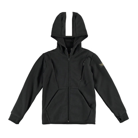 REBOUND Black - Boy Zipped Hoody with Reflective Detail